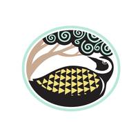 Golden Plover Looking Up Tree Oval Tribal Art