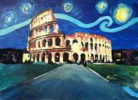 Starry Night over Coliseum in Rome Italy with Van
