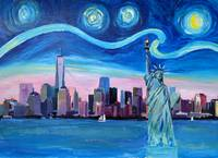 Starry Night over Manhattan with Statue of Liberty