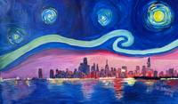 Starry Night in Chicago Illinois with Lake Michiga