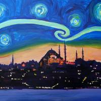"""Starry Night in Istanbul, Turkey - Van Gogh Inspir"" by arthop77"