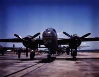 B-25 bombers on the outdoor assembly line at North