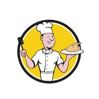 Chef Cook Roast Chicken Spatula Circle Cartoon