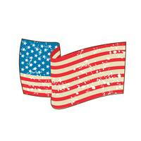 USA Flag Stars and Stripes Grunge Wavy Retro
