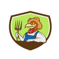 Chicken Farmer Pitchfork Crest Cartoon