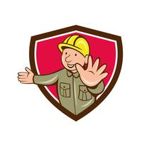 Builder Hand Stop Signal Crest Cartoon