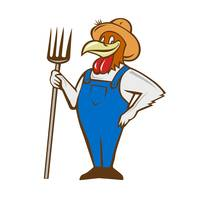 Chicken Farmer Pitchfork Isolated Cartoon