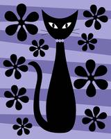 Groovy Flowers with Cat Purple and Light Purple