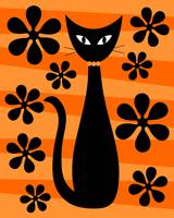 Groovy Flowers with Cat Orange and Light Orange