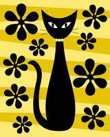 Groovy Flowers with Cat Yellow and Light Yellow