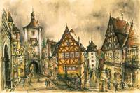 Rothenburg Bavaria Germany - Watercolor Painting