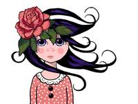 Big-Eyed Girl with Rose in her Hair, Whimsical Pop
