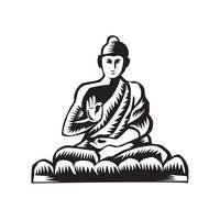 Buddha Lotus Pose Woodcut