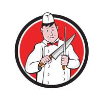Butcher Sharpening Knife Circle Cartoon