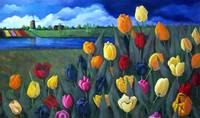 Tulips with Dutch Landscape, Painting