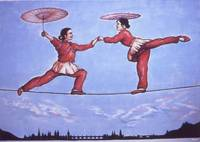 Chinese Circus Highwire - Oil Painting