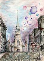 Romantic Montreal - Fine Art Drawing