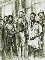 Harlem Guys - New York Art Drawing