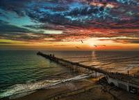 Stunning Oceanside aerial sunset