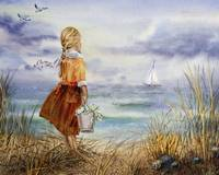 Girl Beach Ocean Sailboat Birds And Seashell