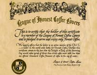 League of Coffee Lovers Certificate