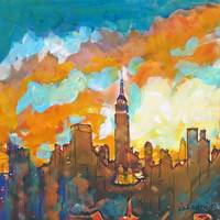 New York City Empire State Building and Sunset