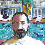 RD artist self portrait poolside by RD Riccoboni