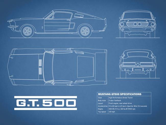 Stunning shelby mustang gt artwork for sale on fine art prints shelby mustang gt500 blueprint by mark rogan 2015 malvernweather Image collections