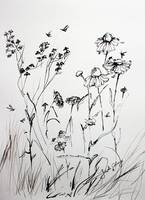 Wildflowers Floral Ink Line Art