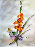 Still Life Gladiolus and Objects Watercolor