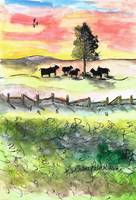 Lone Sunset Tree and Cows