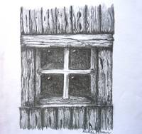 Old Barn Window Drawing