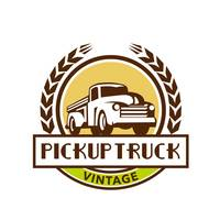 Vintage Pick Up Truck Circle Wreath Retro