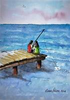 Kids Fishing Off the Dock Ink and Watercolor