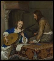 Gerard Dou, 1667, A Woman Playing the Theorbo-Lute