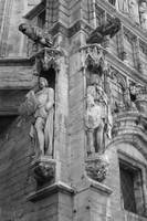 Guarding the Grand Place - Black and White by Carol Groenen
