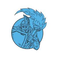 Centurion Soldier Torch Circle Drawing