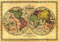 Vintage Map of The World (1856) - Stylized