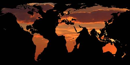 World Map Silhouette - Romantic Sunset