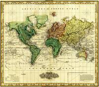 Vintage Map of The World (1823) - Stylized