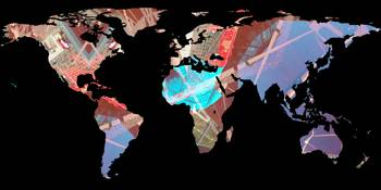 World Map Silhouette - Stylished Light Showers