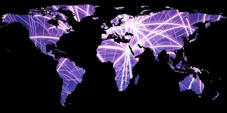 World Map Silhouette - Fireworks