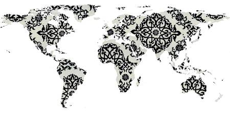Abstract Maps Drawings And Illustrations For Sale On Fine Art Prints - Mandala map of the world