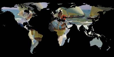 World Map Silhouette - Women and Sailboats