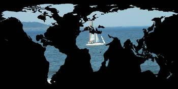 World Map Silhouette - Sailing