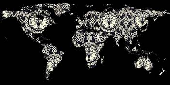 World Map Silhouette - Patterned Mandala