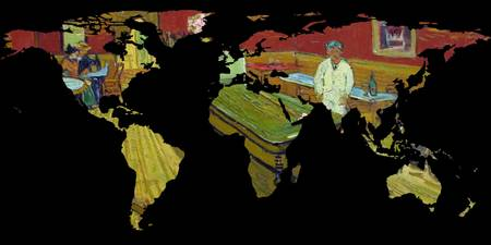 World Map Silhouette - Van Gogh's Night Cafe