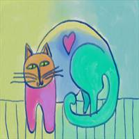 Funky Cat Abstract Digital Cat Painting