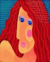 Abstract Woman with Red Hair Digital Portrait