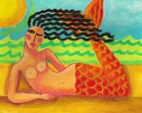 Mermaid with Red Tail Acrylic Painting